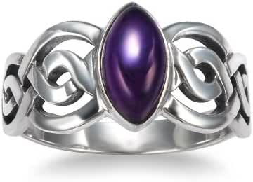925 Sterling Silver Genuine Amethyst Stone Celtic Double Infinity Knot Ring